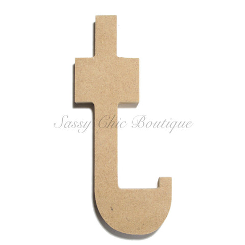 "Unfinished Wooden Letter - Lowercase ""t""- Western Font"