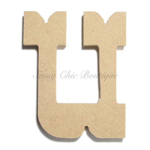"Unfinished Wooden Letter - Lowercase ""u"" - Western Font"