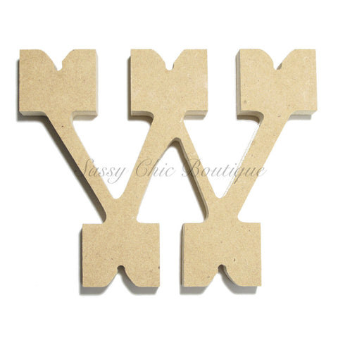 "Unfinished Wooden Letter - Lowercase ""w"" - Western Font"