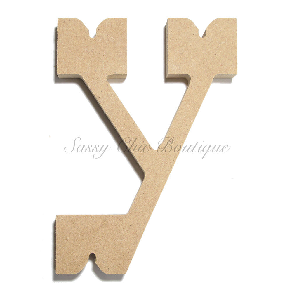 "DIY-Unfinished Wooden Letter - Lowercase ""y"" - Western Font-Sassy Chic Boutique"