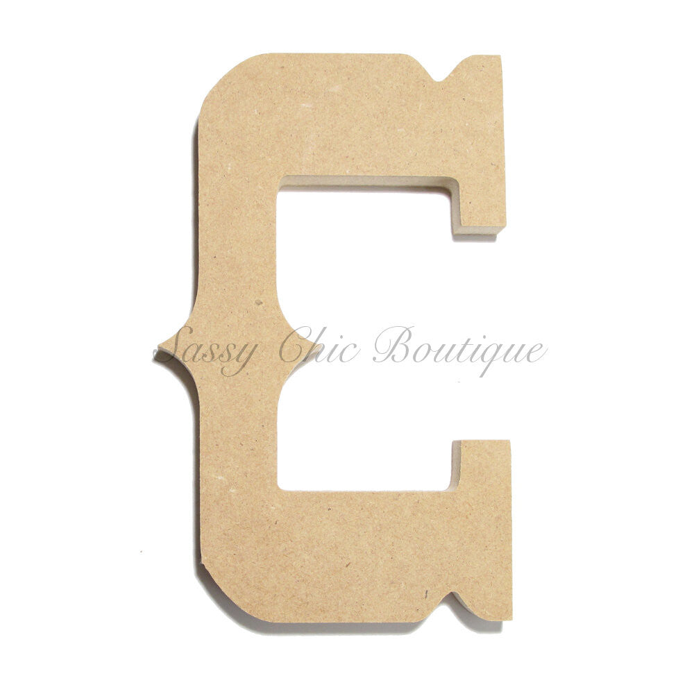 "DIY-Unfinished Wooden Letter - Uppercase ""C"" - Western Font-Sassy Chic Boutique"
