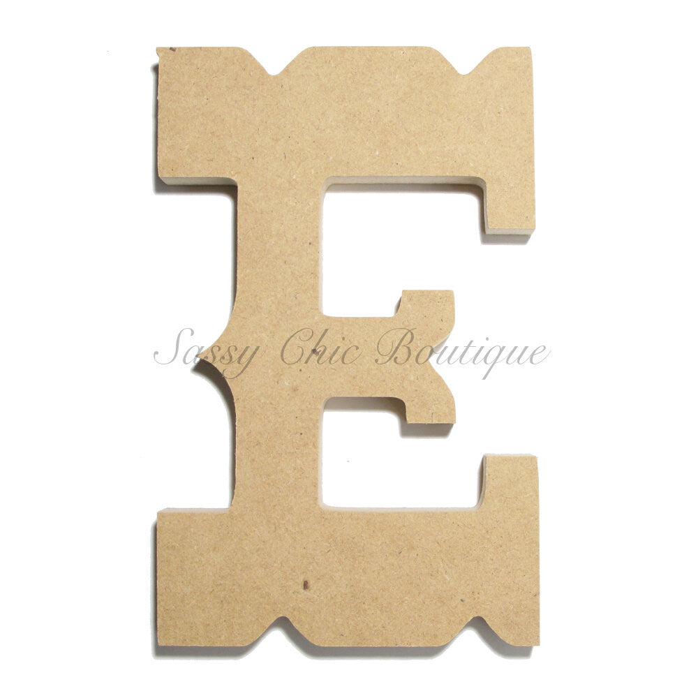"DIY-Unfinished Wooden Letter - Uppercase ""E"" - Western Font-Sassy Chic Boutique"