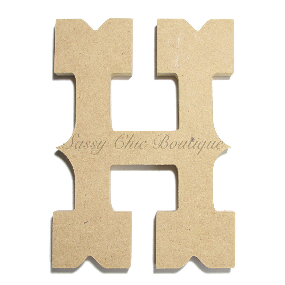 "DIY-Unfinished Wooden Letter - Uppercase ""H"" - Western Font-Sassy Chic Boutique"