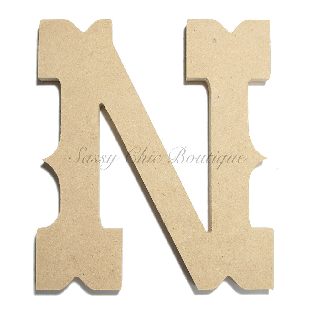"DIY-Unfinished Wooden Letter - Uppercase ""N"" - Western Font-Sassy Chic Boutique"
