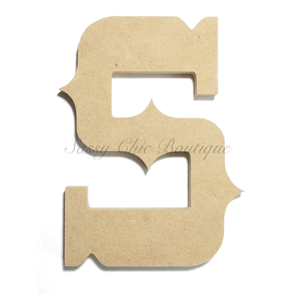 "DIY-Unfinished Wooden Letter - Uppercase ""S"" - Western Font-Sassy Chic Boutique"