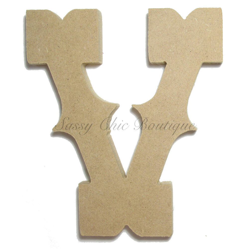 "DIY-Unfinished Wooden Letter - Uppercase ""V"" - Western Font-Sassy Chic Boutique"