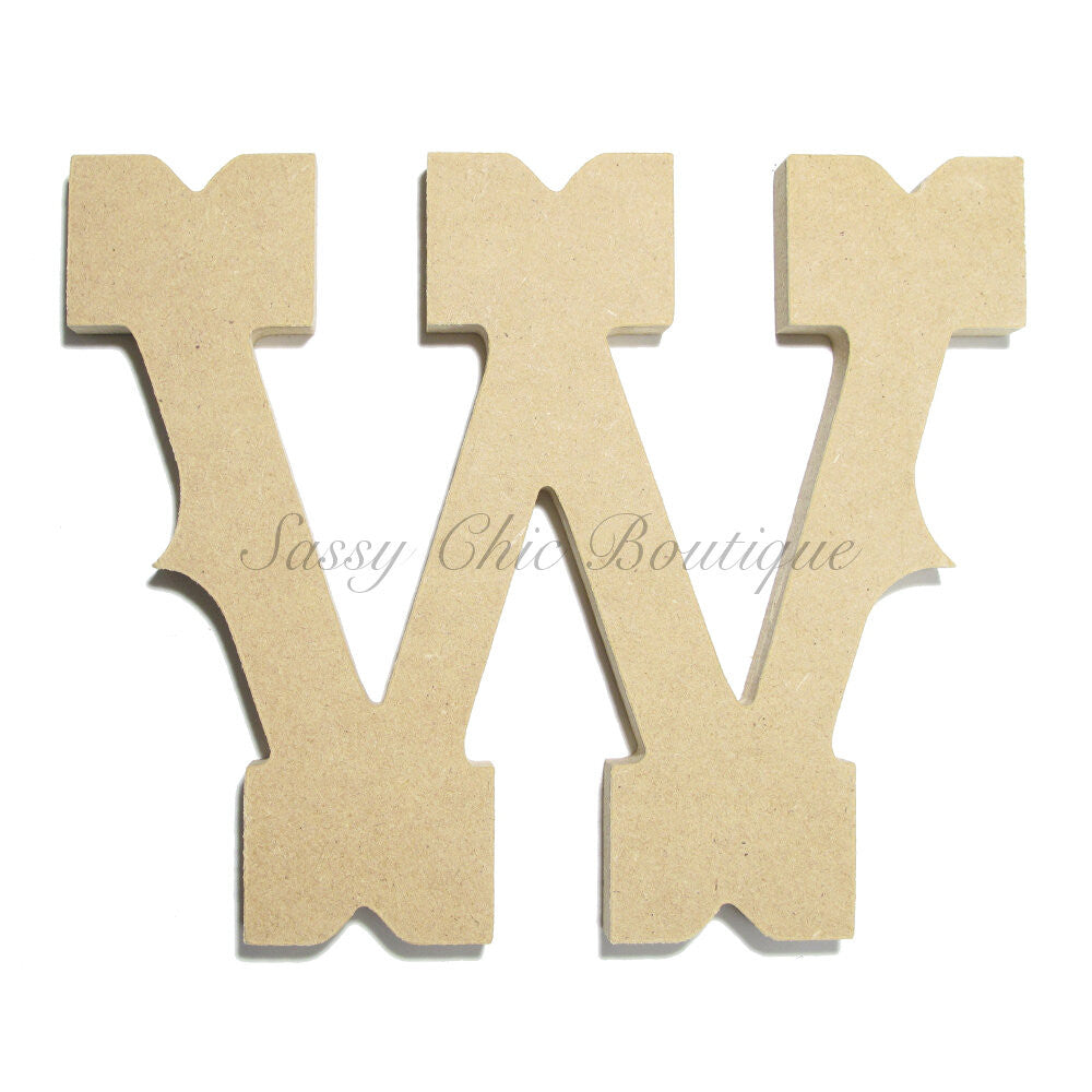 "DIY-Unfinished Wooden Letter - Uppercase ""W"" - Western Font-Sassy Chic Boutique"