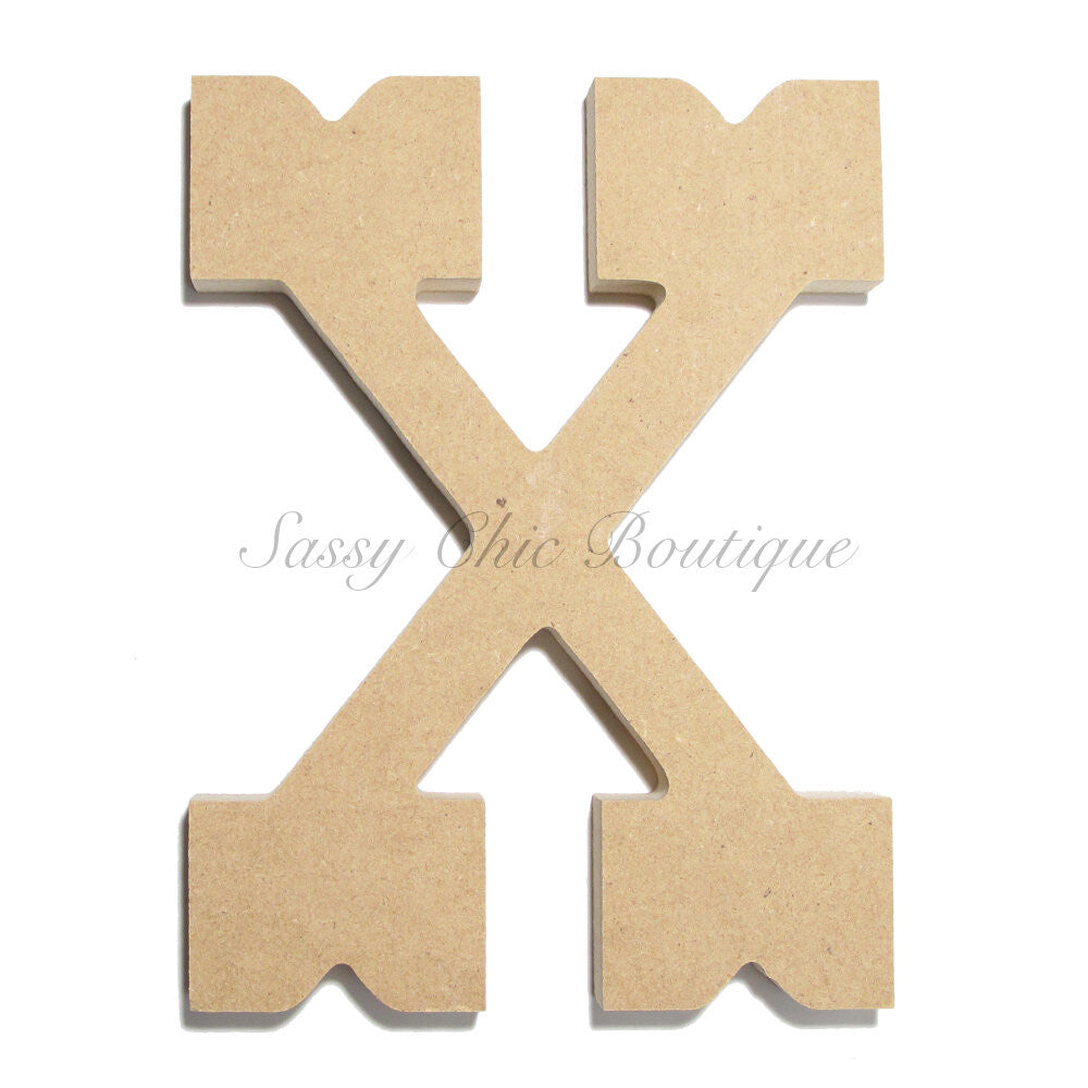 "DIY-Unfinished Wooden Letter - Uppercase ""X"" - Western Font-Sassy Chic Boutique"