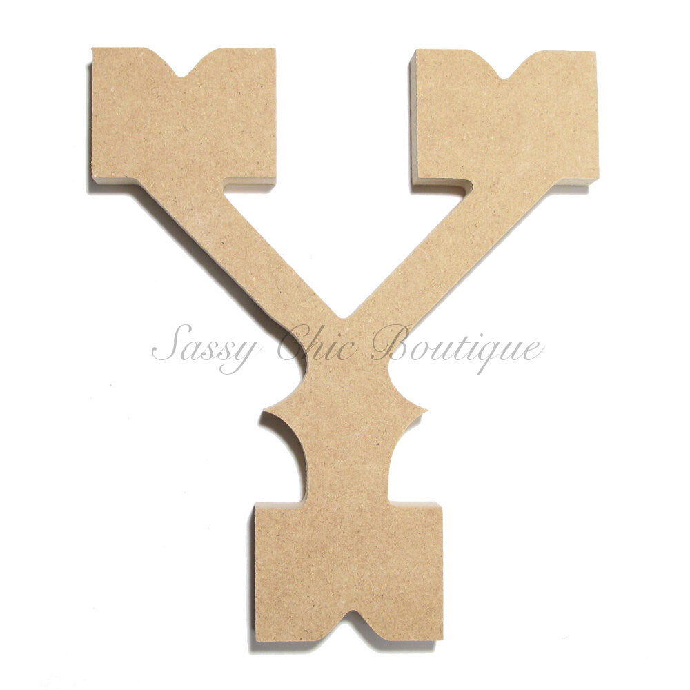 "DIY-Unfinished Wooden Letter - Uppercase ""Y"" - Western Font-Sassy Chic Boutique"