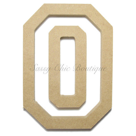 "Unfinished Wooden Number ""0"" - All Star Font"