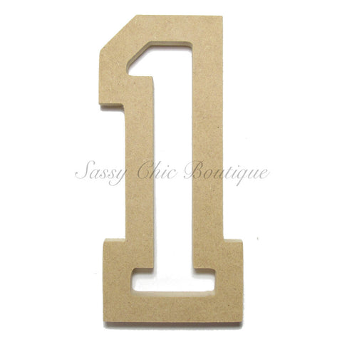 "Unfinished Wooden Number ""1"" - All Star Font"