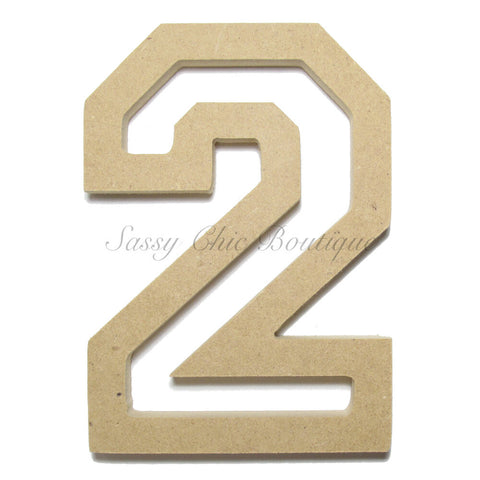 "Unfinished Wooden Number ""2"" - All Star Font"