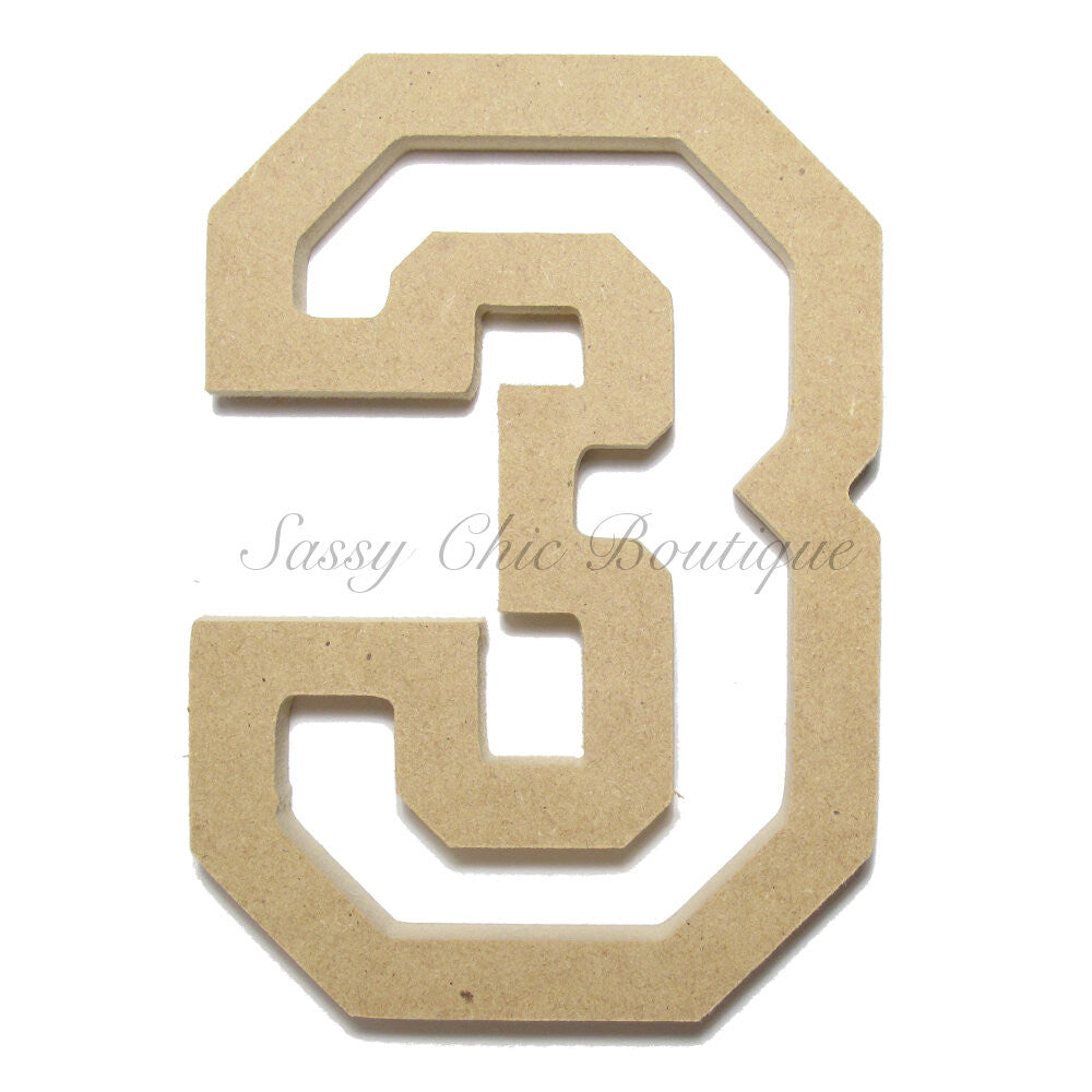 "DIY-Unfinished Wooden Number ""3"" - All Star Font-Sassy Chic Boutique"