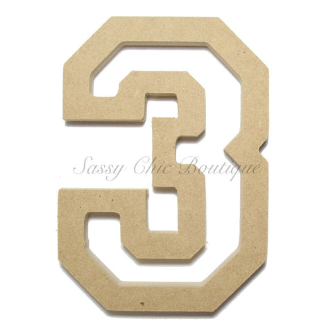 "Unfinished Wooden Number ""3"" - All Star Font"