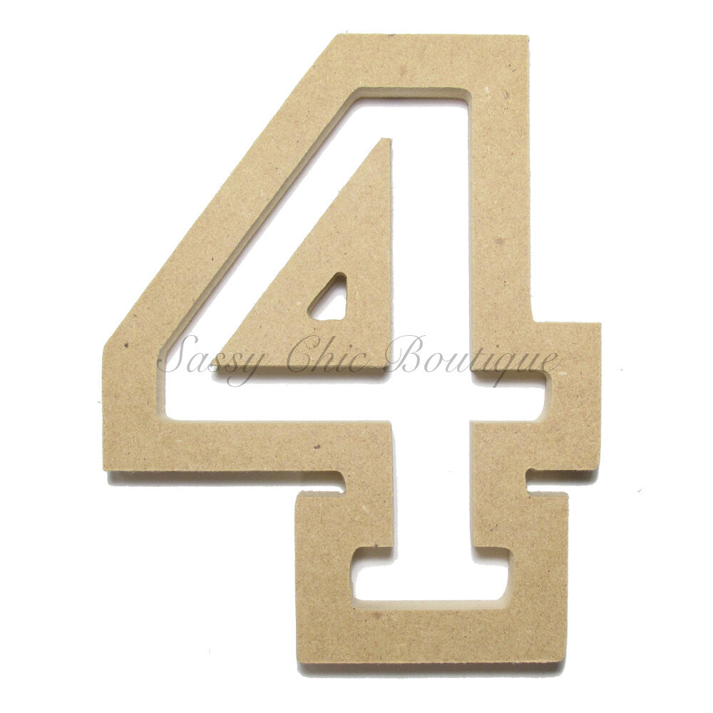 "DIY-Unfinished Wooden Number ""4"" - All Star Font-Sassy Chic Boutique"