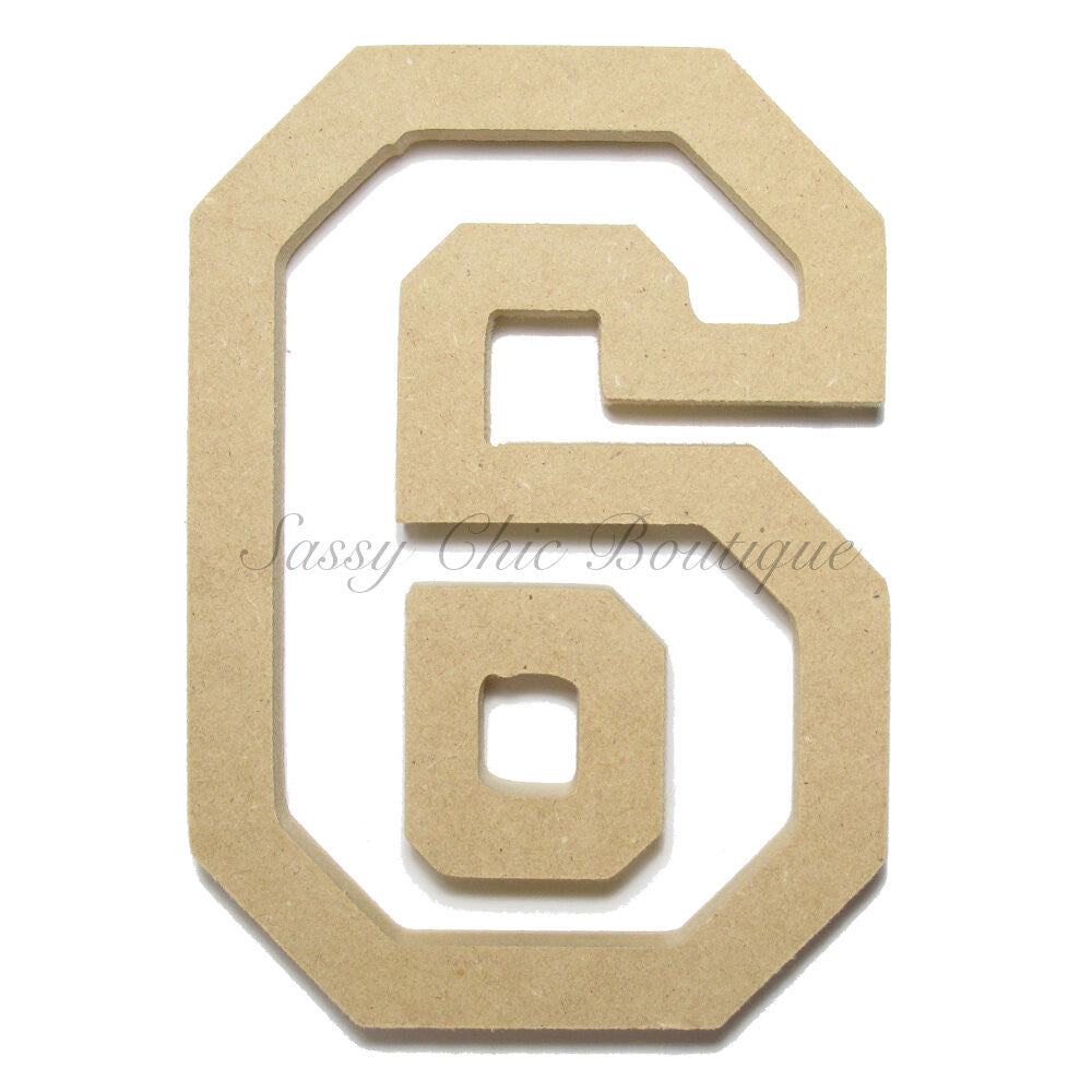 "DIY-Unfinished Wooden Number ""6"" - All Star Font-Sassy Chic Boutique"