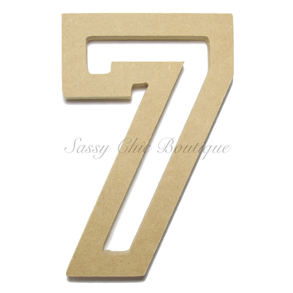 "DIY-Unfinished Wooden Number ""7"" - All Star Font-Sassy Chic Boutique"