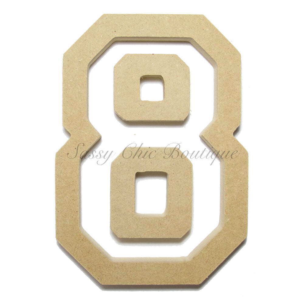 "DIY-Unfinished Wooden Number ""8"" - All Star Font-Sassy Chic Boutique"