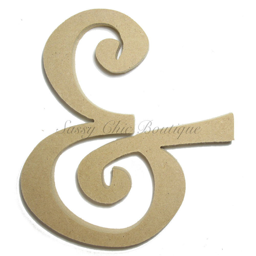 "DIY-Unfinished Wooden Symbol -  ""&"" Ampersand Symbol - Curlz Font-Sassy Chic Boutique"