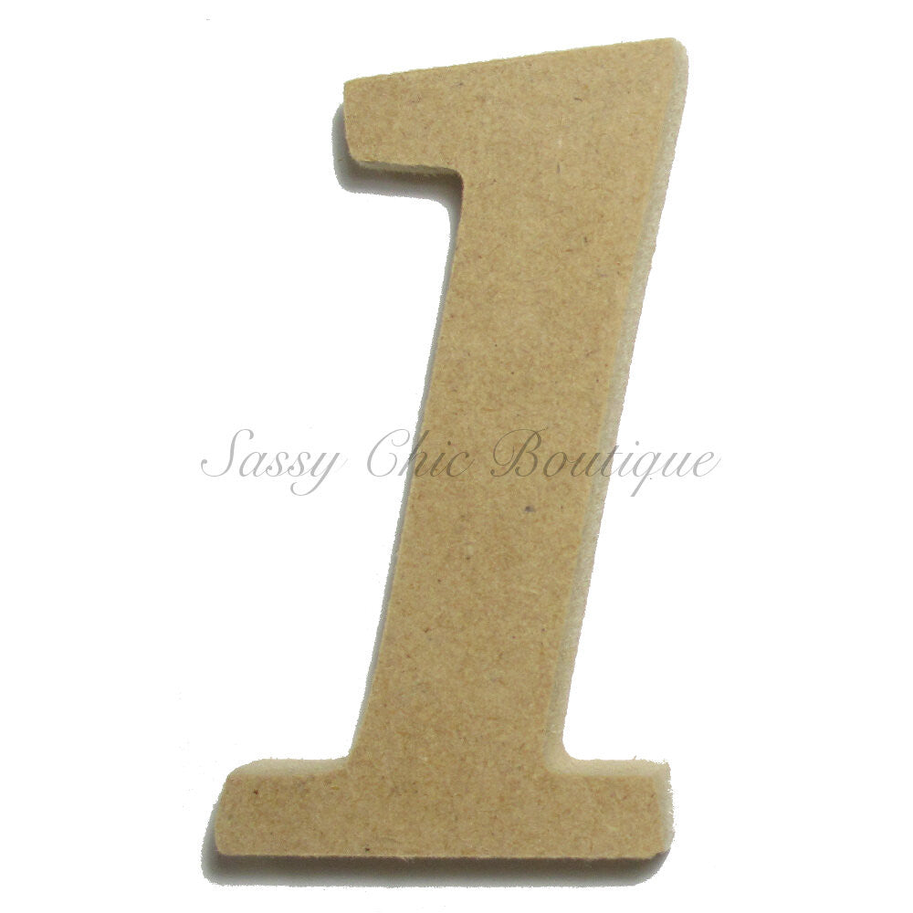 "DIY-Unfinished Wooden Number ""1"" - Lucida Calligraphy Font-Sassy Chic Boutique"