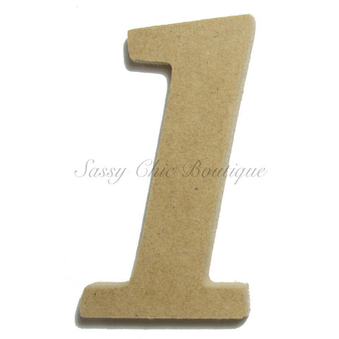 "Unfinished Wooden Number ""1"" - Lucida Calligraphy Font"