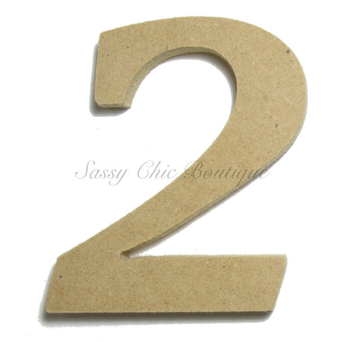 "Unfinished Wooden Number ""2"" - Lucida Calligraphy Font"
