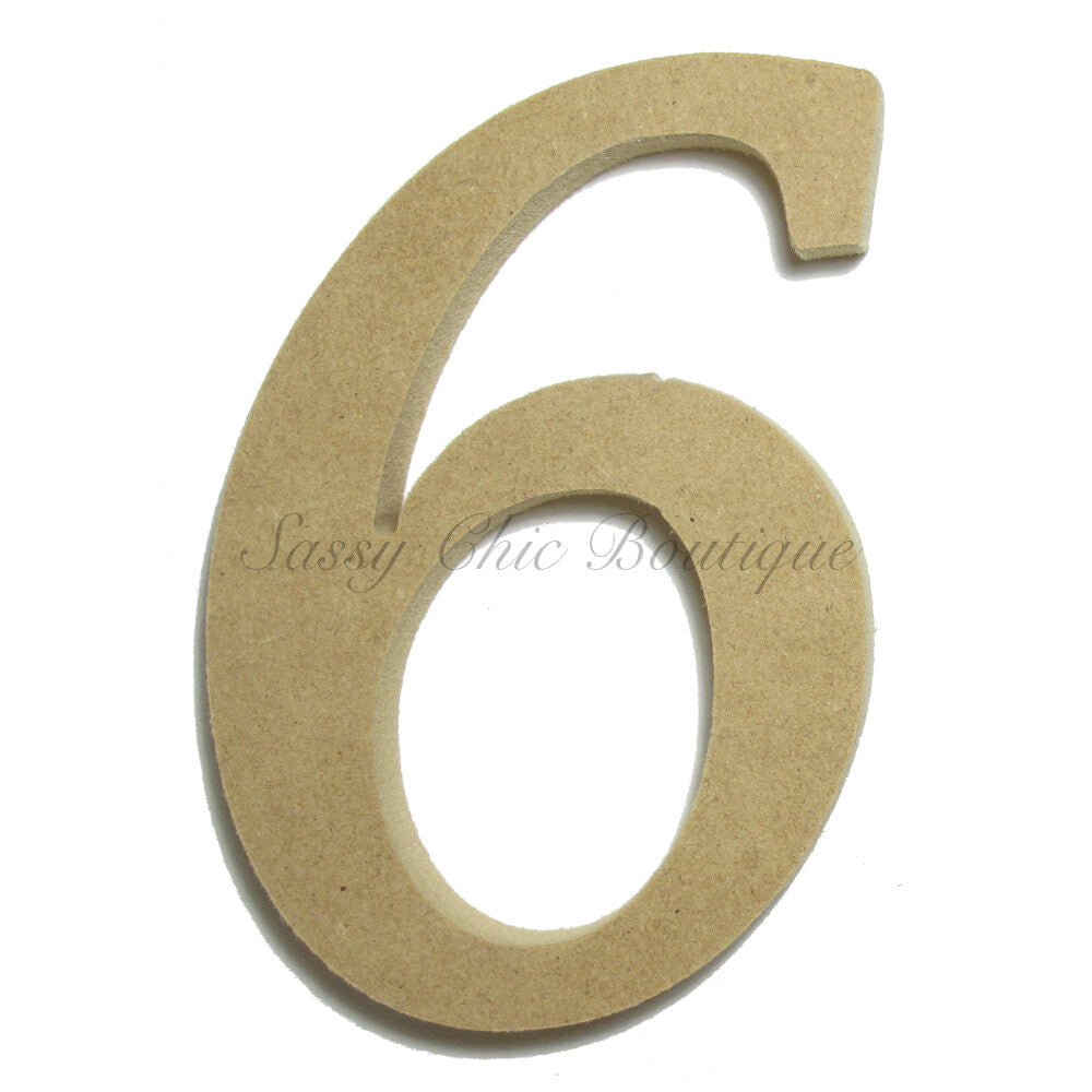 "DIY-Unfinished Wooden Number ""6"" - Lucida Calligraphy Font-Sassy Chic Boutique"
