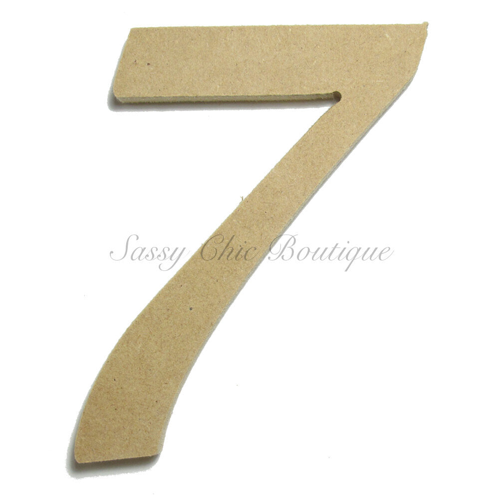 "DIY-Unfinished Wooden Number ""7"" - Lucida Calligraphy Font-Sassy Chic Boutique"