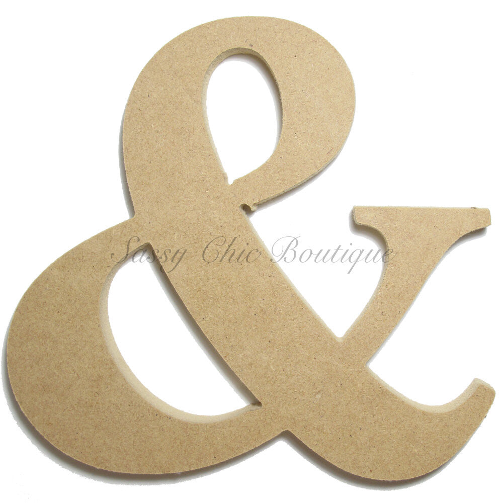 "DIY-Unfinished Wooden Symbol -  ""&"" Ampersand Symbol - Times Font-Sassy Chic Boutique"
