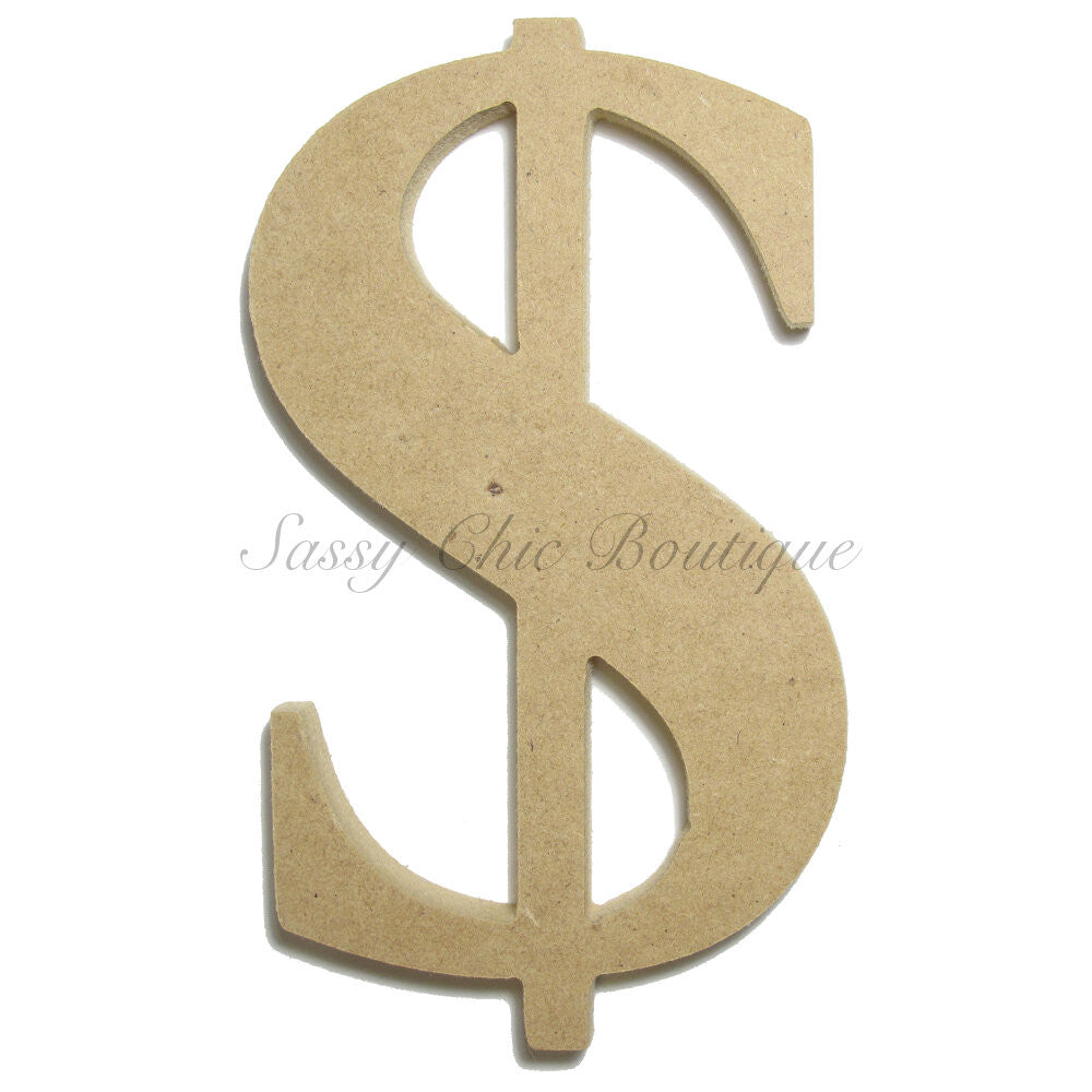 "DIY-Unfinished Wooden Symbol -  ""$"" Dollar Sign - Times Font-Sassy Chic Boutique"