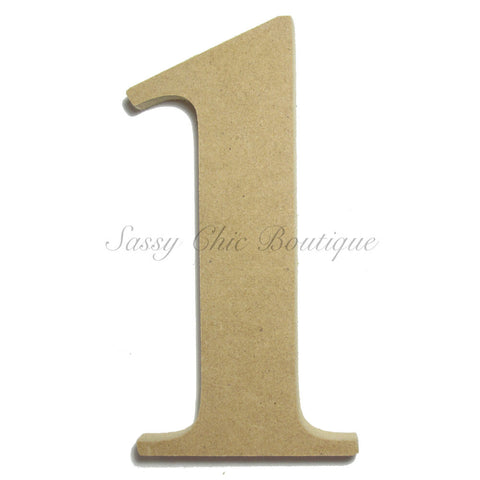 "Unfinished Wooden Number ""1"" - Times Font"
