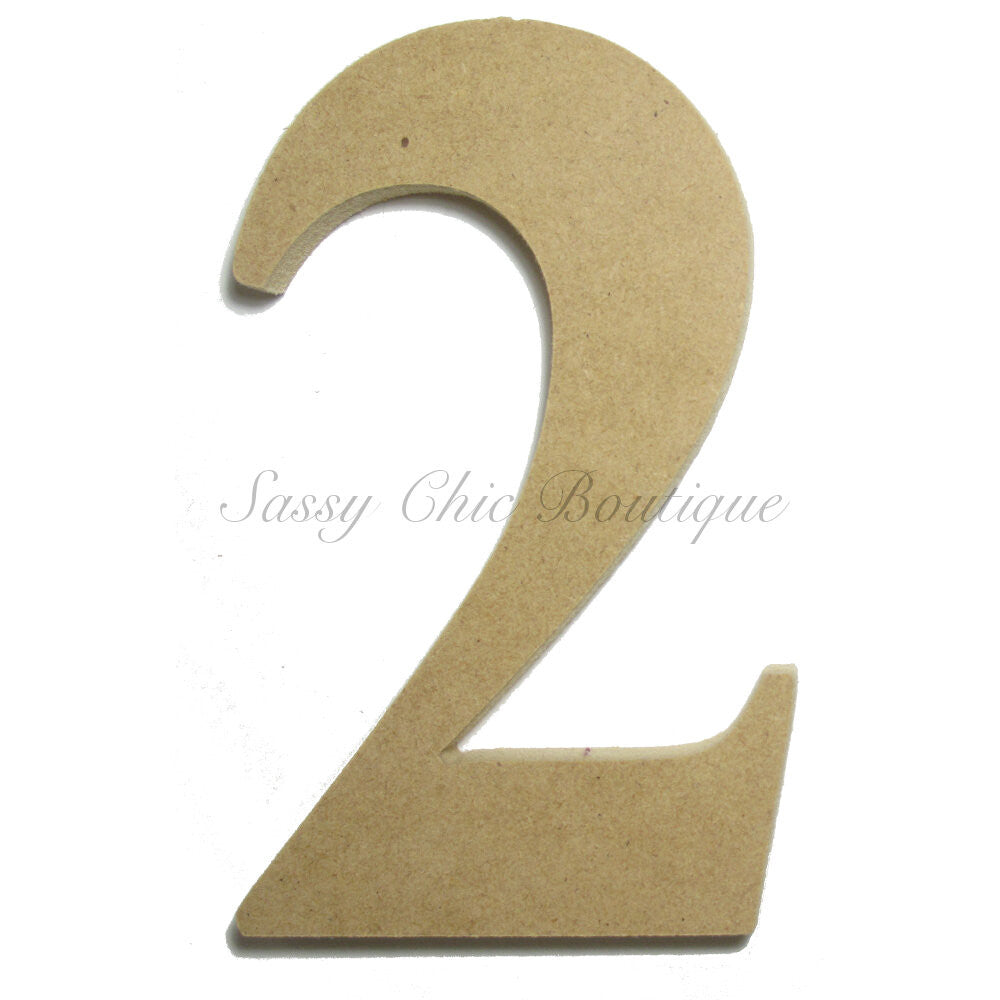 "DIY-Unfinished Wooden Number ""2"" - Times Font-Sassy Chic Boutique"