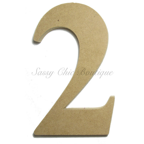 "Unfinished Wooden Number ""2"" - Times Font"