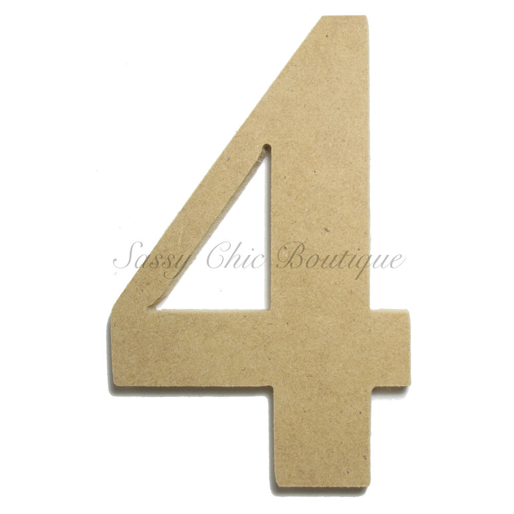 "DIY-Unfinished Wooden Number ""4"" - Times Font-Sassy Chic Boutique"