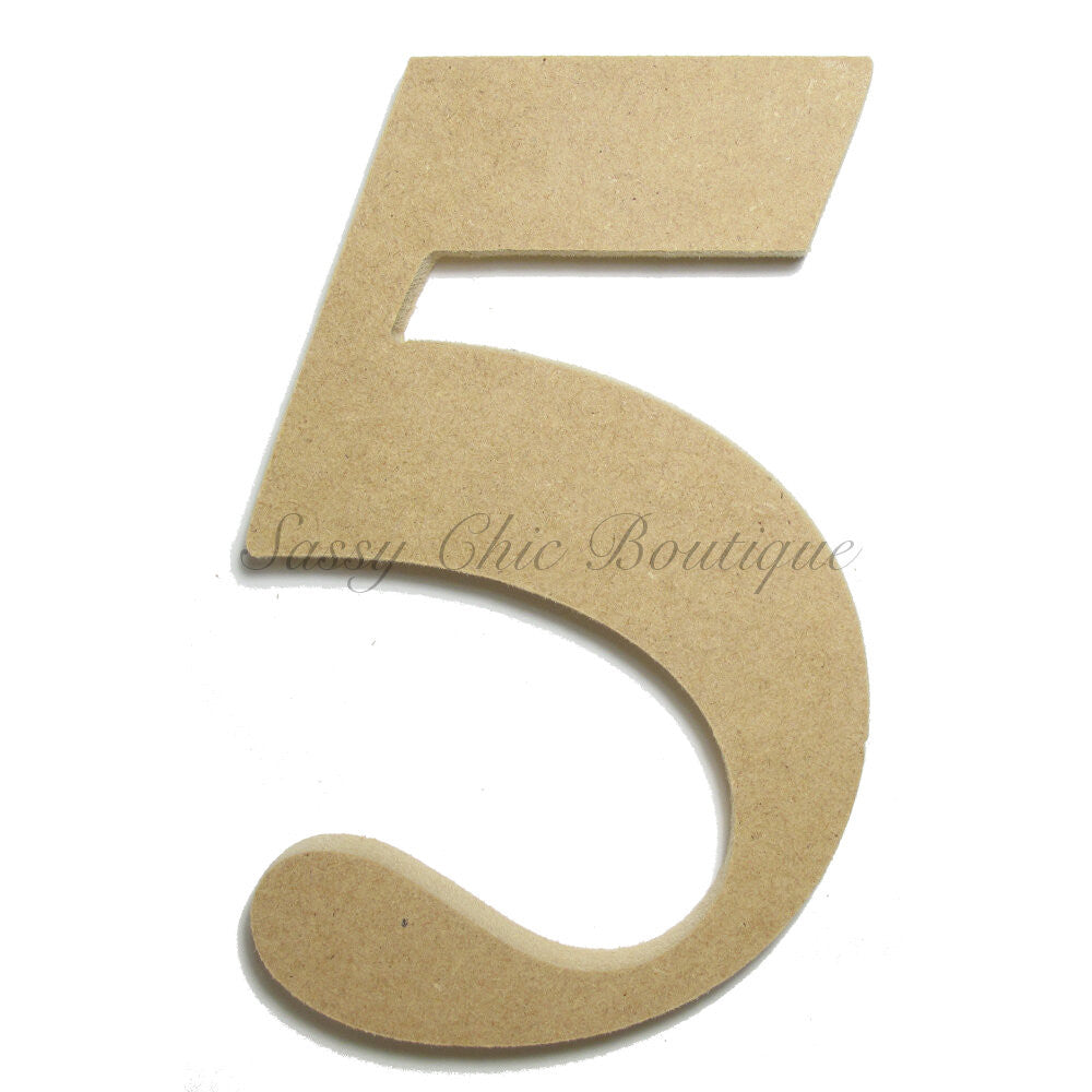 "DIY-Unfinished Wooden Number ""5"" - Times Font-Sassy Chic Boutique"