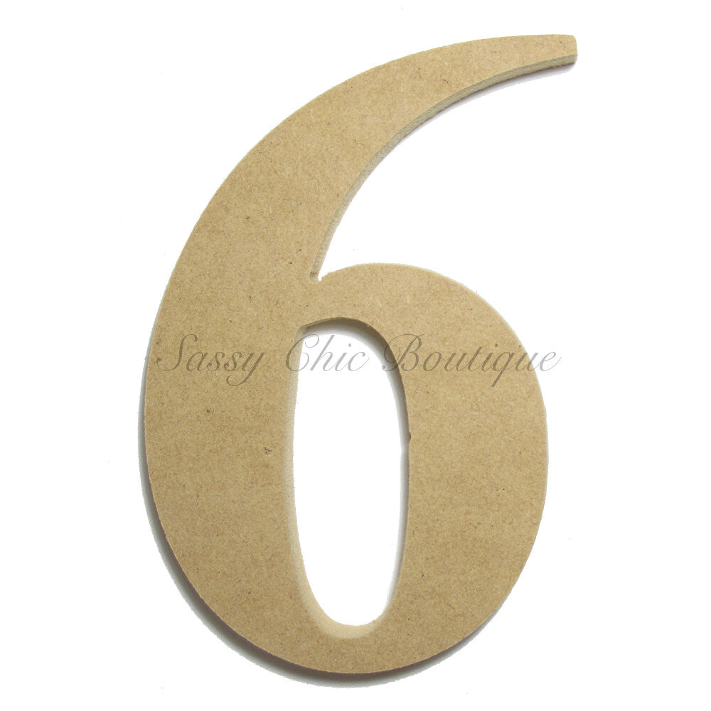 "DIY-Unfinished Wooden Number ""6"" - Times Font-Sassy Chic Boutique"