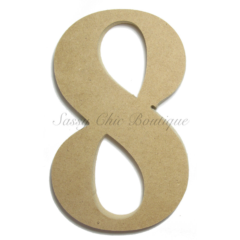 "DIY-Unfinished Wooden Number ""8"" - Times Font-Sassy Chic Boutique"