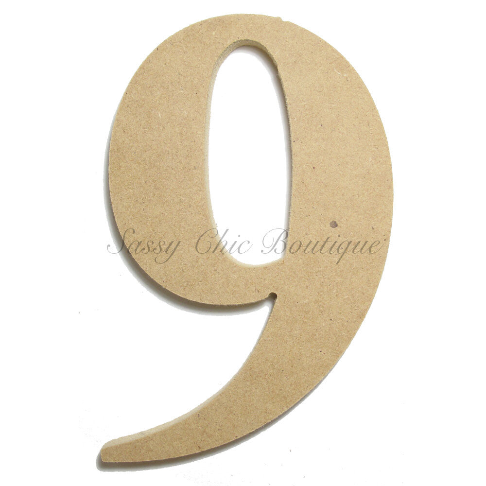 "DIY-Unfinished Wooden Number ""9"" - Times Font-Sassy Chic Boutique"