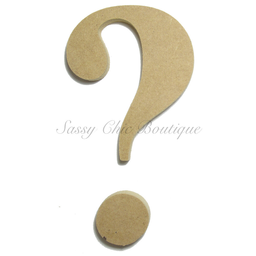 "DIY-Unfinished Wooden Symbol -  ""?"" Question Mark - Times Font-Sassy Chic Boutique"