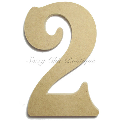 "Unfinished Wooden Number ""2"" - Victorian Font"