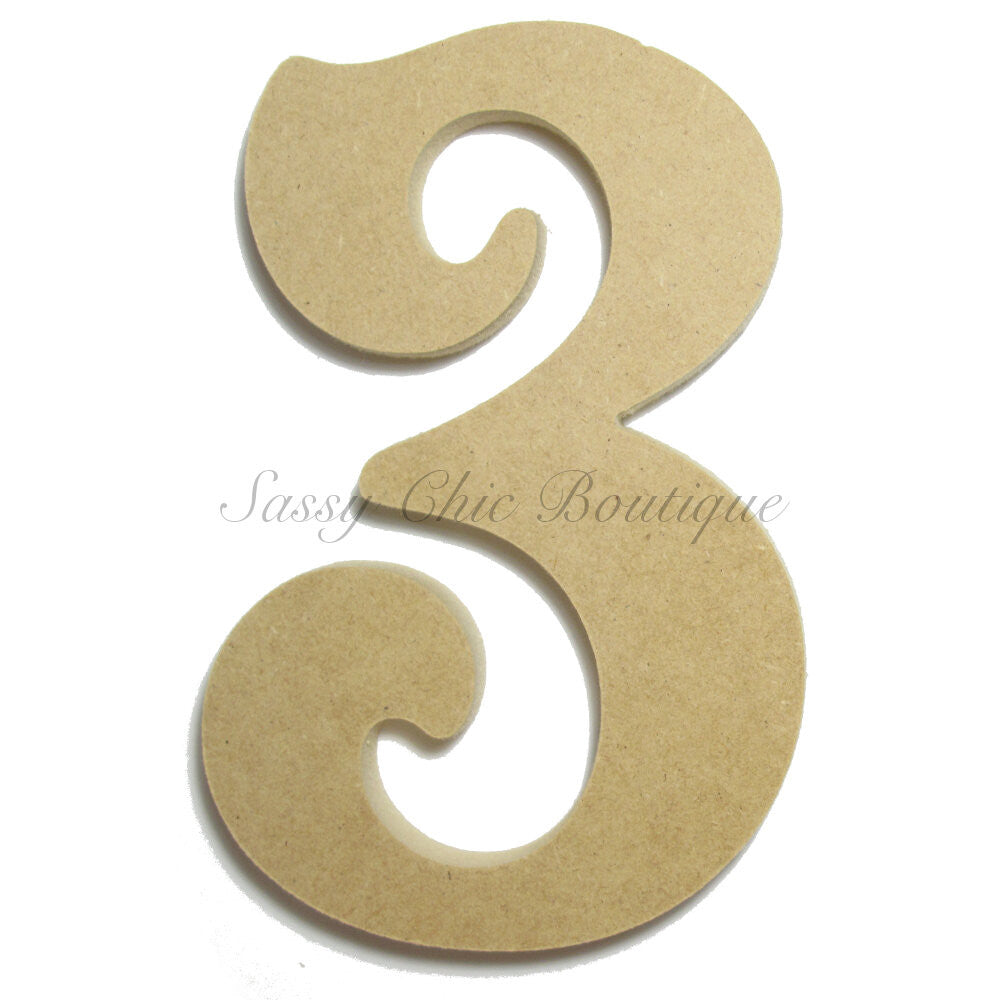 "DIY-Unfinished Wooden Number ""3"" - Victorian Font-Sassy Chic Boutique"