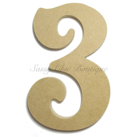 "Unfinished Wooden Number ""3"" - Victorian Font"