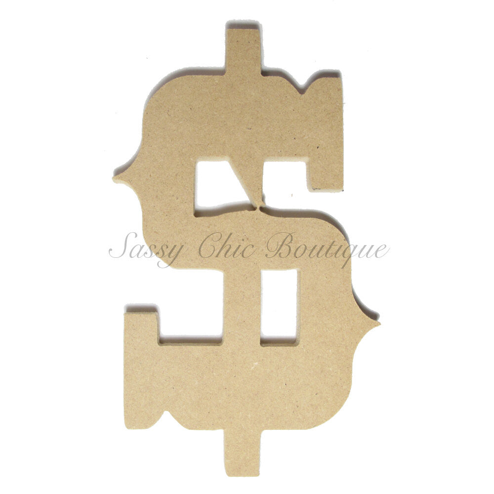 "DIY-Unfinished Wooden Symbol -  ""$"" Dollar Sign - Western Font-Sassy Chic Boutique"