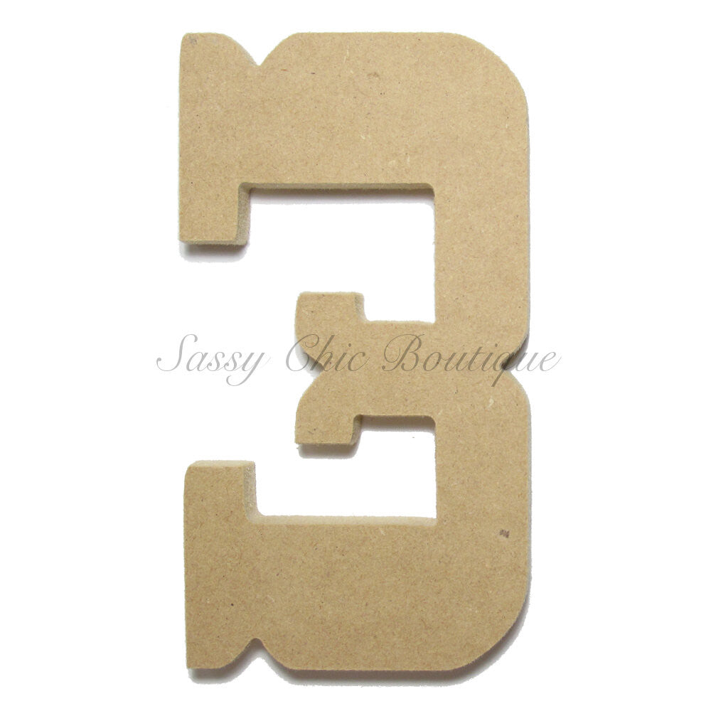 "DIY-Unfinished Wooden Number ""3"" - Western Font-Sassy Chic Boutique"
