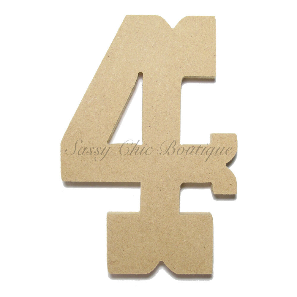 "DIY-Unfinished Wooden Number ""4"" - Western Font-Sassy Chic Boutique"