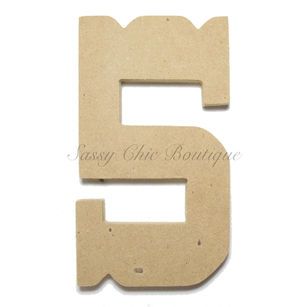 "DIY-Unfinished Wooden Number ""5"" - Western Font-Sassy Chic Boutique"