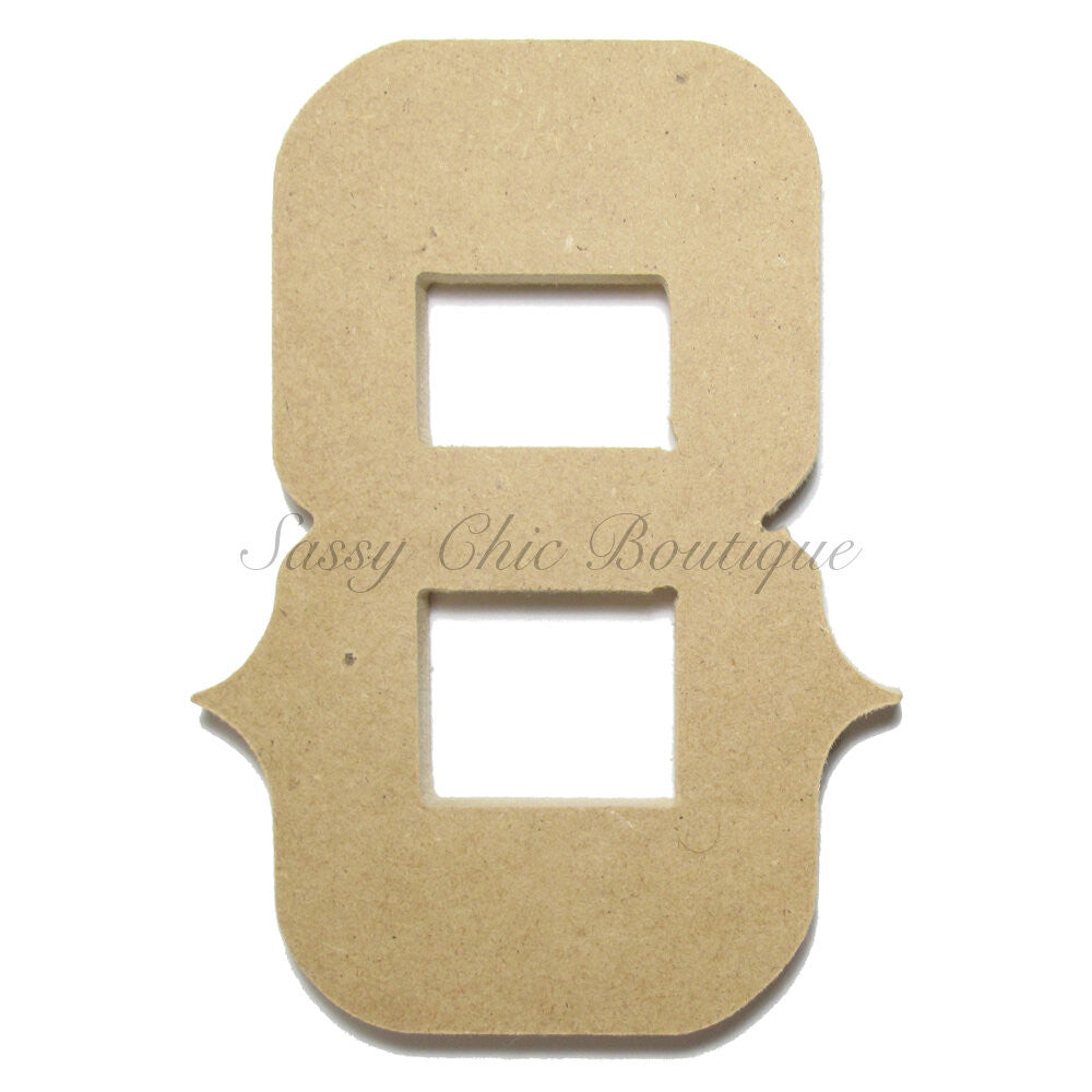 "DIY-Unfinished Wooden Number ""8"" - Western Font-Sassy Chic Boutique"