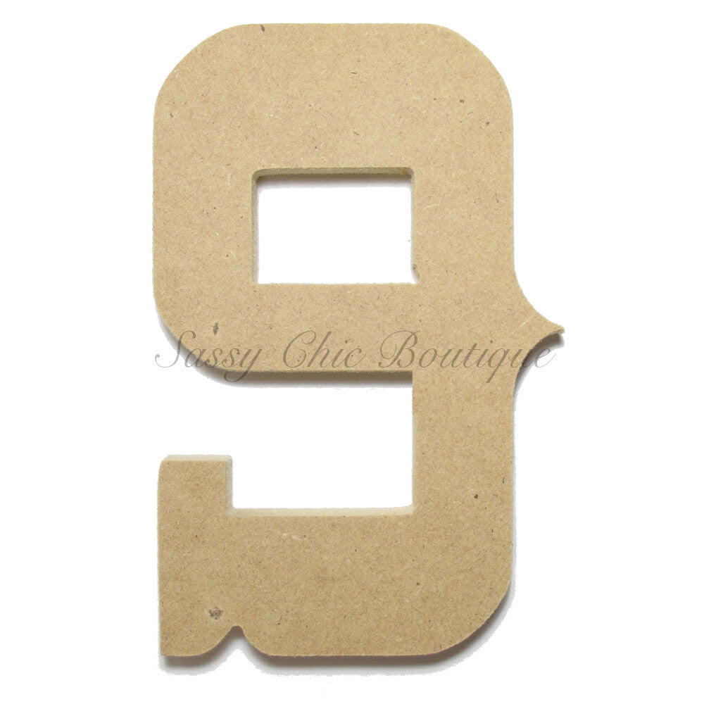 "DIY-Unfinished Wooden Number ""9"" - Western Font-Sassy Chic Boutique"