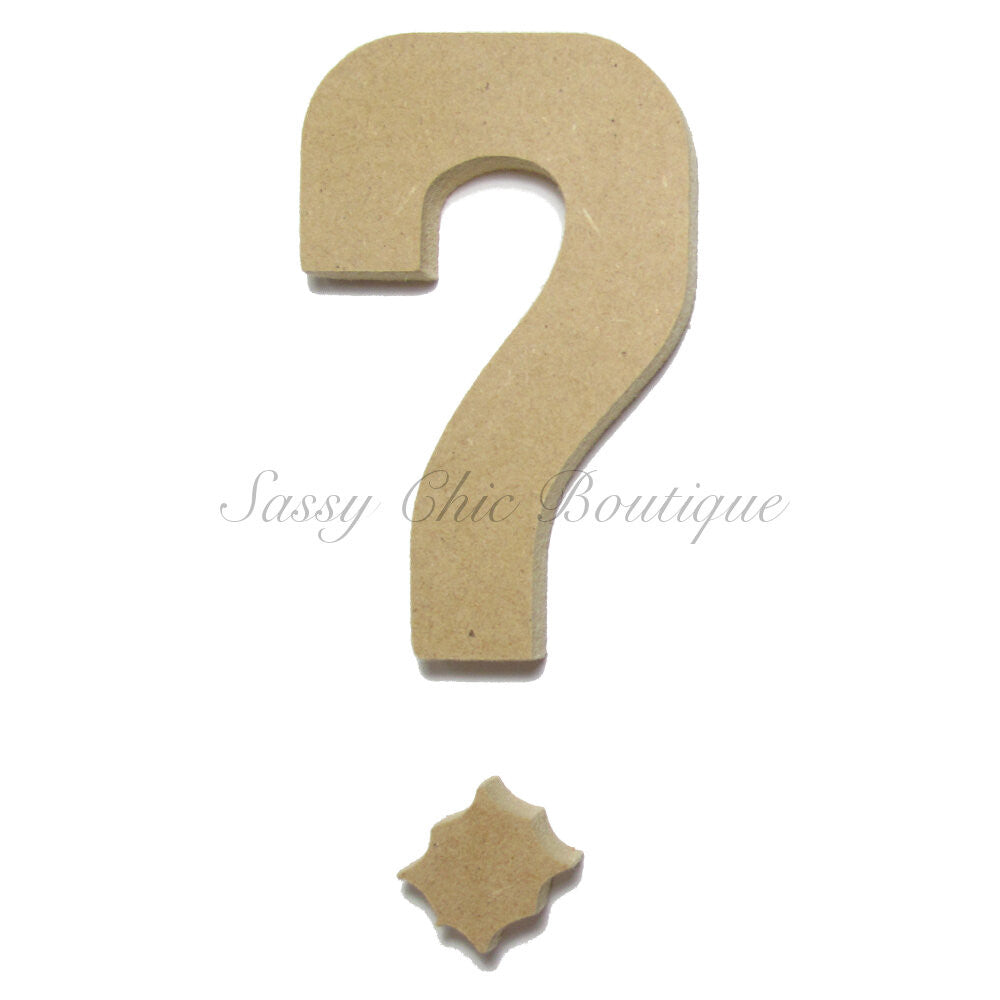 "DIY-Unfinished Wooden Symbol -  ""?"" Question Mark - Western Font-Sassy Chic Boutique"
