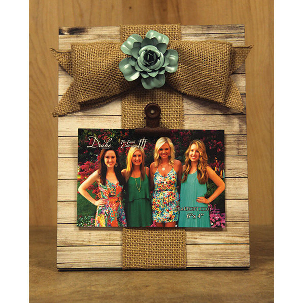 Home Decor-White Picture Clip Holder with Burlap Bow-Sassy Chic Boutique